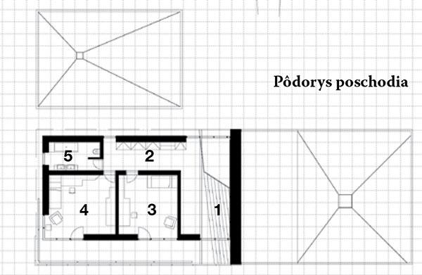 Pôdorys poschodia 1 schody zprízemia 2 chodba 3 detská izba 4 detská izba 5 kúpeľňa