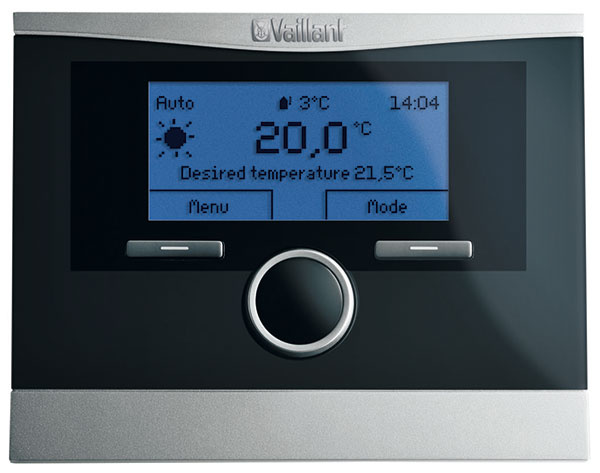 Ekvitermický regulátor calorMATIC 470 značky Vaillant skomunikačným rozhraním eBUS, časové riadenie vykurovania, ohrevu teplej vody acirkulačného čerpadla na základe požiadaviek užívateľa, špeciálne funkcie – párty režim aprázdninový režim, www.vaillant.sk