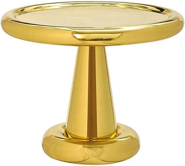 Tom Dixon Spun Table Short, leštený povrch vzlatej farbe, priemer 54 cm, výška 45 cm, 1075€, www.nest.co.uk