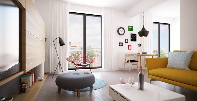 Návrh obývacej izby v malom mezonete