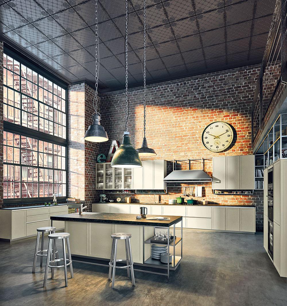 Zabývaný vlofte. Loftová kuchyňa svysokým stropom aveľkými oknami je na umiestnenie ostrova priam stvorená. Ostrov pritom môže spájať rôzne materiály – drevo, kov ikameň. Jeho súčasťou môže byť drez, jedálenské sedenie aj otvorené police, do ktorých naskladáte najpoužívanejší riad.