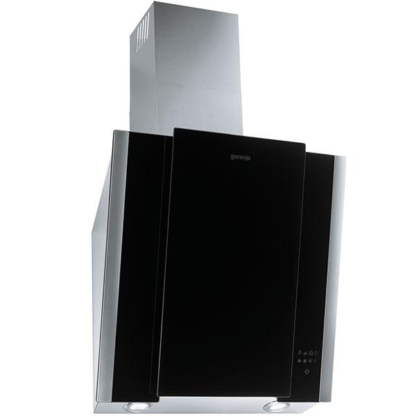 DVG 6565 AX – komínový digestor s dotykovým ovládaním a ukazovateľom čistoty filtra, funkcia časovača, šírka 60 cm, nerezové prevedenie s čiernym sklom, cena 469 eur.