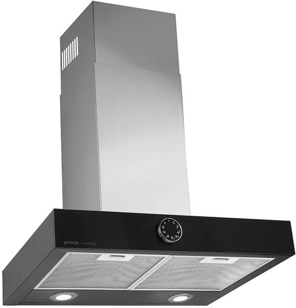 DTA 6 SY2B – komínový digestor z kolekcie Simplicity, tlačidlo pre jednoduché ovládanie, AdaptTech odsávanie – inteligentný pamäťový systém, šírka: 60 cm, čierna farba, cena 369 eur.