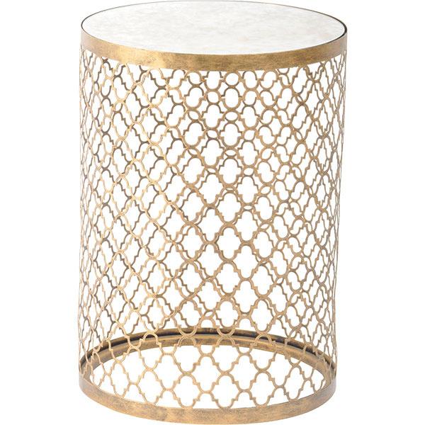 Príručný stolík so strieborným zrkadlovým povrchom akovovou podnožou so zlatým marockým vzorom, priemer 40,5cm, výška 55,75 cm, 322,20 €, www.artisanti.com