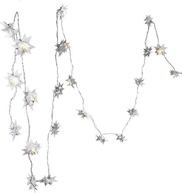 Svetelná reťaz s24 ručne skladanými hviezdami sLED žiarovkami, dĺžka 220 cm, 39,95 €, www.impressionen.de