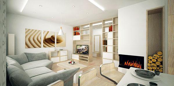 Všetok nábytok je vyrobený na mieru, výnimkou nie je ani sedačka vatypickom tvare sodolným textilným čalúnením. Interiér preto pôsobí celistvo auhladene.