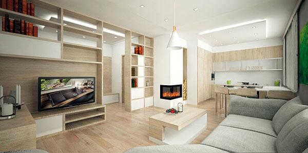 Nábytková priečka oddeľujúca obývačku od chodby poskytuje priestor na knihy, niektoré jej moduly ostali otvorené zoboch strán, vďaka čomu je čiastočne presvetlená aj chodba.