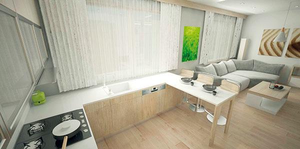 Kuchynské sedenie je tvorené ako súčasť kuchynskej linky so stredne vysokými stoličkami, ktoré si zvolili majitelia.