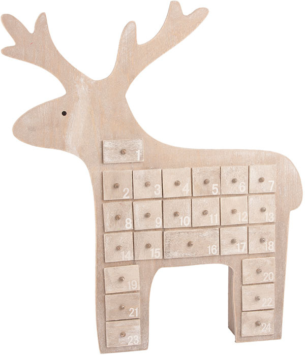 Štedrý kamarát. Drevený sob sočíslovanými miniatúrnymi zásuvkami, ktoré sa pred Vianocami zmenia na adventný kalendár; 40 × 25 × 6 cm, 38,27 €, www.tch.net