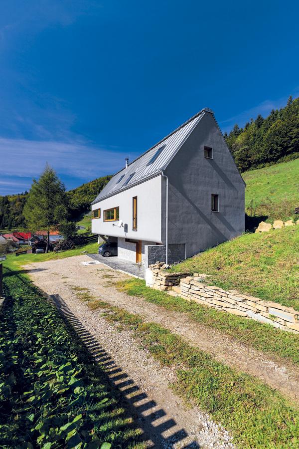 Tvar domu do veľkej miery určil dlhý úzky pozemok, cez ktorý navyše prechádza prístupová cesta k susednému objektu.