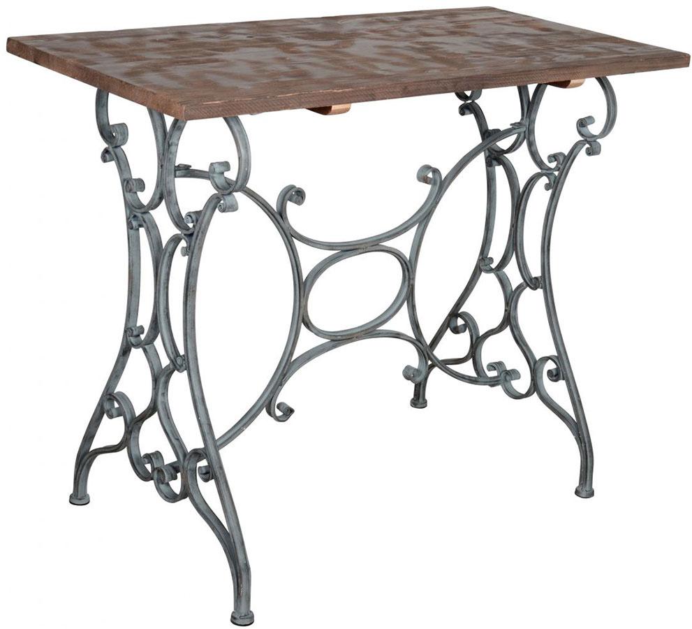 Kovový stôl Ib Laursen Ornament, kovová podnož sdrevenou doskou, 102 × 51 × 81 cm, 500,33 €, www.bellarose.sk