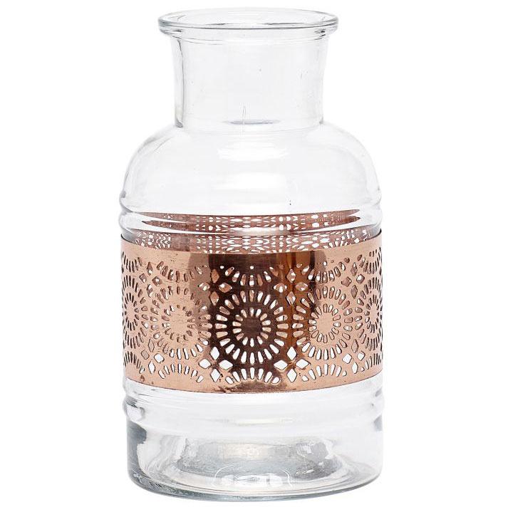 """Sklenená váza Copper smedeným """"čipkovaným"""" pásom, výška 16 cm, priemer 9 cm, 20,38€, www.nordicday.sk"""