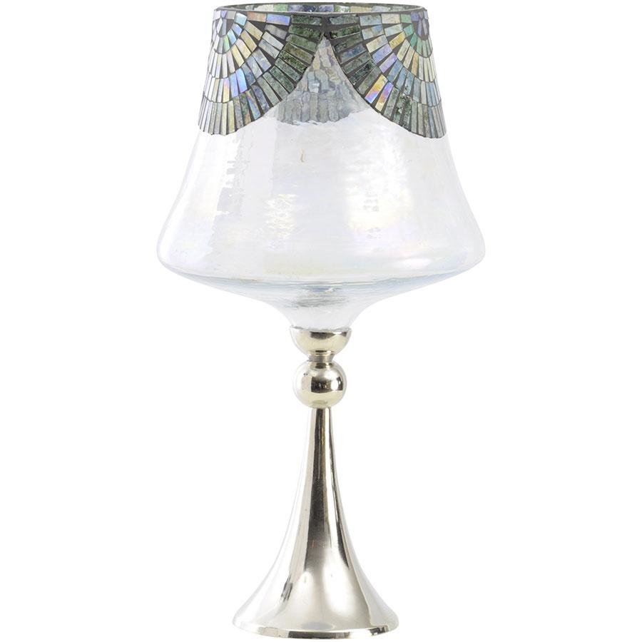Stolová lampa Peacock Hurricane vštýle Art Deco, niklová noha, sklenené tienidlo sperleťovým efektom, mozaika vo farbách pávieho peria, výška 50 cm, priemer 27 cm, 130,12 €, www.artisanti.com
