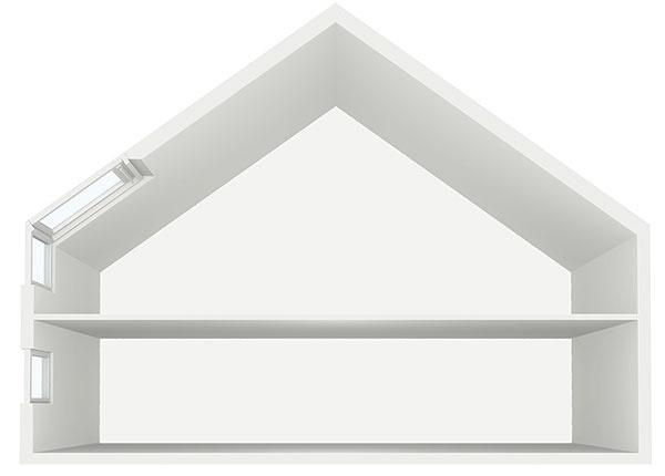 Presvetlenie podkrovia so stropom, napr. strešné okná, kombinácia strešného a zvislého okna