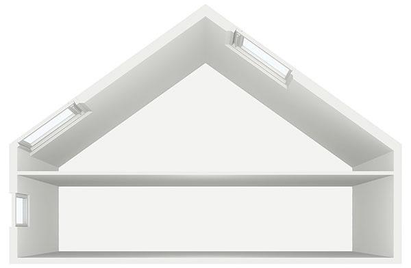 Presvetlenie miestnosti s otvoreným krovom,  napr. kombinácia strešných a doplnkových okien, vysoko umiestnené okno na presvetlenie do hĺbky miestnosti