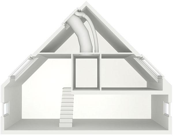 Privedenie denného svetla svetlovodom do miestností, ktoré sú uprostred dispozície domu,  napr. chodby, šatníky, kúpeľne