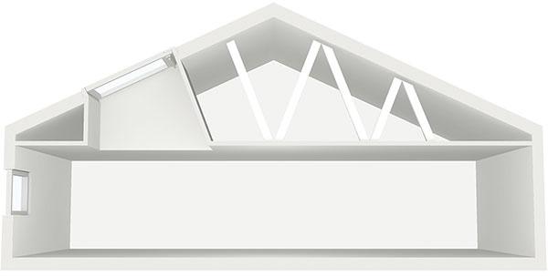 Presvetlenie domu s nízkym  sklonom strechy umiestnením okna vo výške alebo svetlovodom