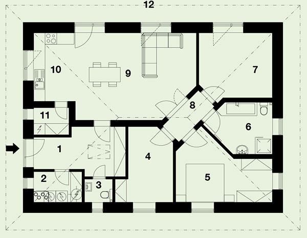 Pôdorys 1 predsieň 2 technická miestnosť 3 WC 4 izba 5 spálňa 6 kúpeľňa 7 izba 8 hala 9 obývačka 10 kuchyňa 11 komora 12 terasa
