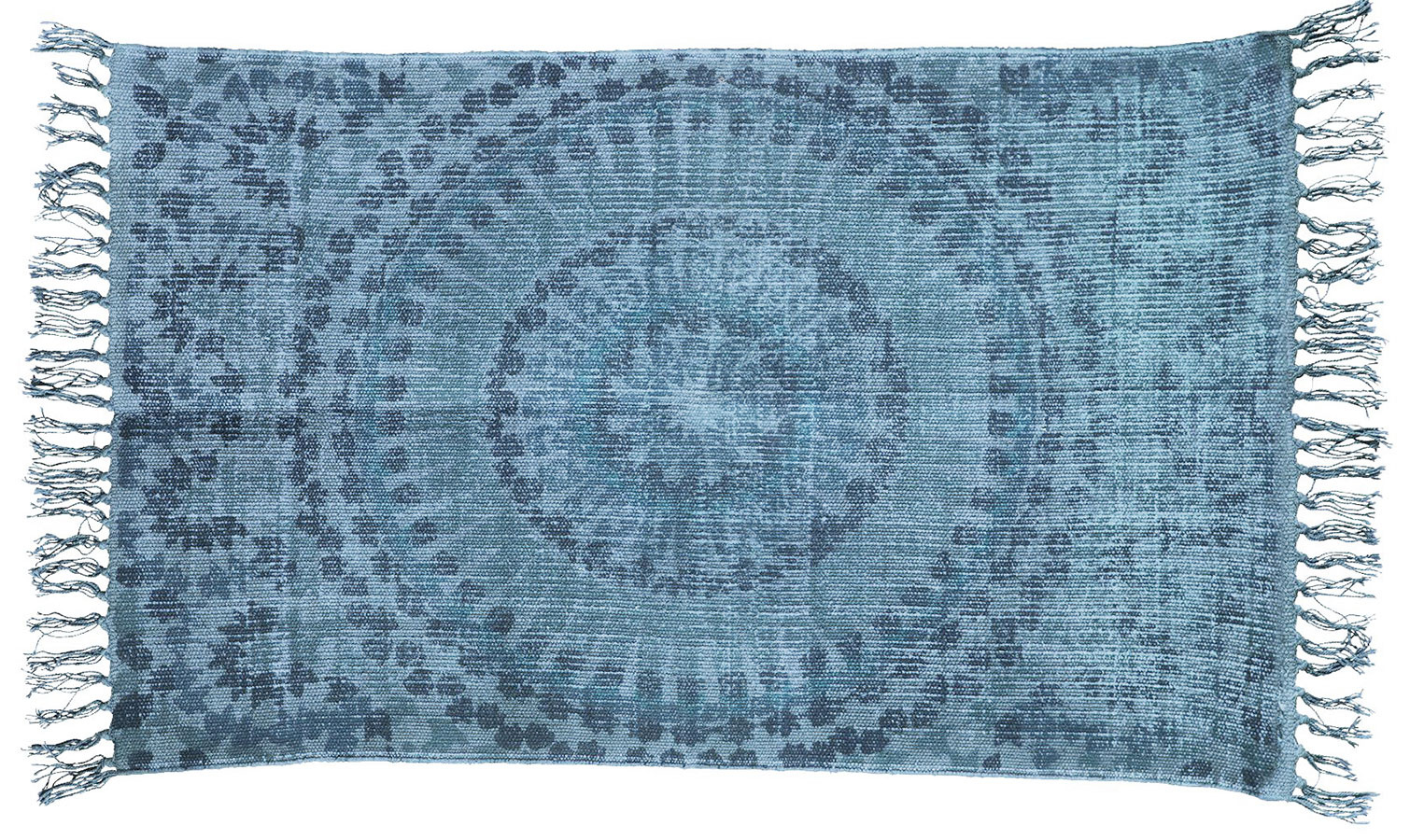 Koberec House Doctor Pix blue sdžínsovým vzhľadom, bavlna, juta, 90 × 200 cm, 115,81 €, www.bellarose.sk