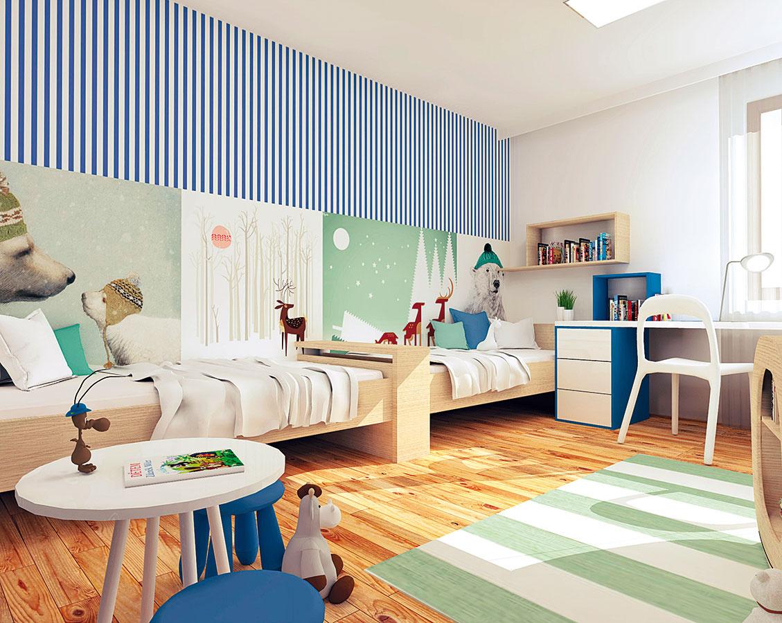 Medzi posteľami sa nachádza vyvýšený odkladací priestor, ktorý sa vždy zíde. Postele zároveň oddeľuje, takže poskytuje deťom súkromie.