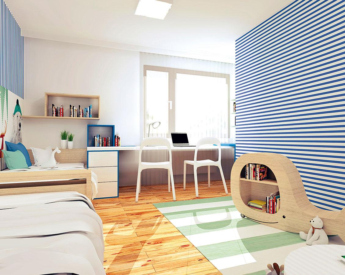 Pracovný stôl apolice na knihy vnávrhu sú vyrobené na mieru. Ostatné zariadenie (koberec, stoličky, nízke sedenie) možno zakúpiť vjednotlivých predajniach.