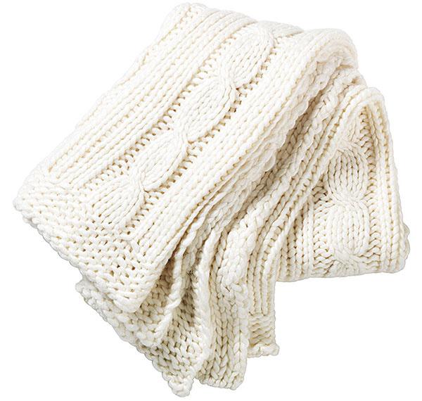 Pletená deka VINTER 2014, 80 % akryl, 20 % vlna, 115 × 180 cm, 24,99 €, IKEA