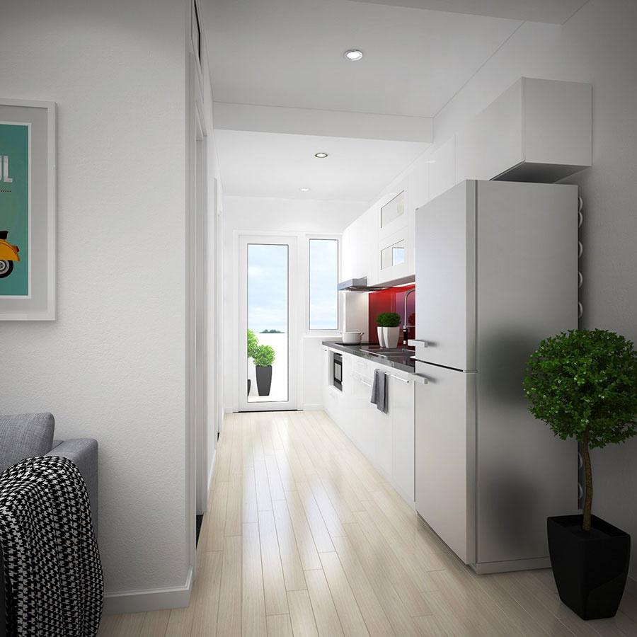 Ani tie najužšie priestory sa nemôžu sťažovať na nedostatok svetla. Verili by ste, že kuchynskej linke stačí jedna výrazná plocha? Tento projekt nás presviedča, že áno. Tak, ako v celom dome, aj tu by vás pri chôdzi hriala príjemná drevená podlaha. Do interiérov v takomto štýle drevo jednoducho patrí.