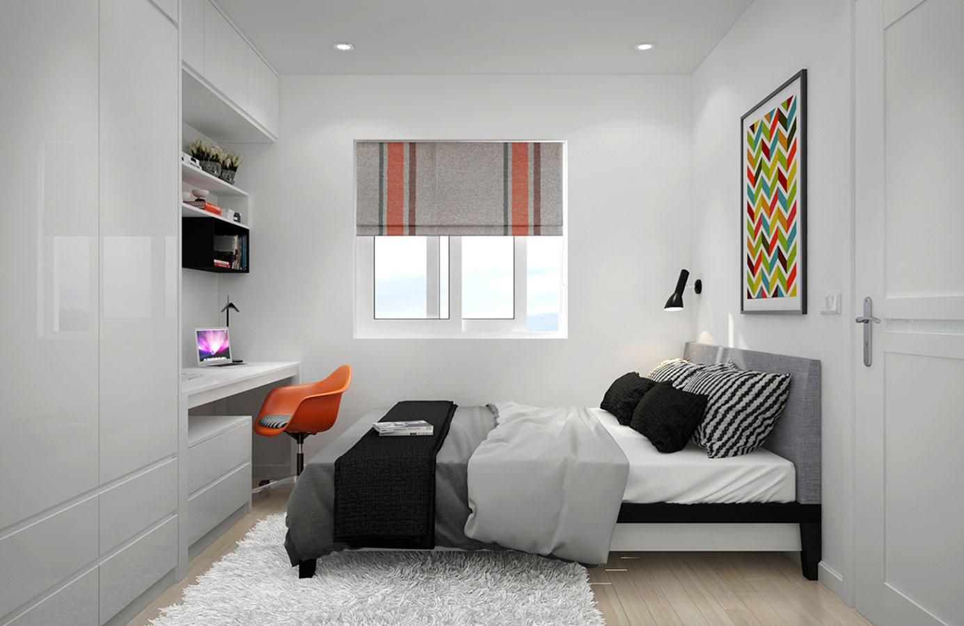 Dizajn často pracuje nielen s vizuálnou, ale i s dotykovou stránkou. Pri interiéroch inšpirovaných severom často možno vidieť, že si na to vybrali prirodzenú drsnosť materiálu v surovom stave. Tu sa však išlo opačnou cestou – mäkký koberec ešte zjemňuje črty spálne, v ktorej je inak využitá ďalšia variácia čiernobielo-oranžového princípu.