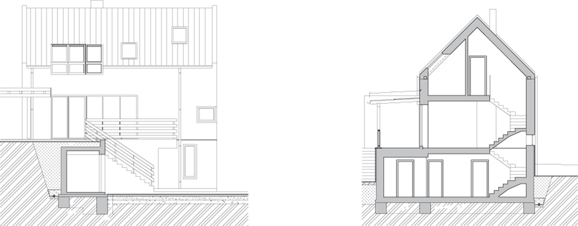 Rez Do domu sa vstupuje zo zapusteného prízemia, kde sú dve spálne pre hostí adostatok odkladacích priestorov na sane, bicykle aj peletky. Oposchodie vyššie je spoločný obytný priestor – kuchyňa sjedálňou aobývačka, na ktoré nadväzuje terasa azáhrada. Vpodkroví sú potom dve spálne majiteľov.