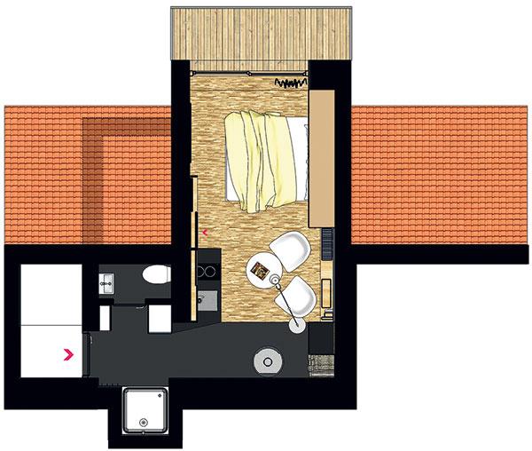 Do bytu sa vstupuje zpavlače. Vpredsieni sú po oboch stranách vstavené hygienické miestnosti – sprchovací kút atoaleta. Tehlová stena vás potom dovedie priamo do obytného prostredia – obývačky, jedálne, pracovne, kuchyne aspálne vjednom.