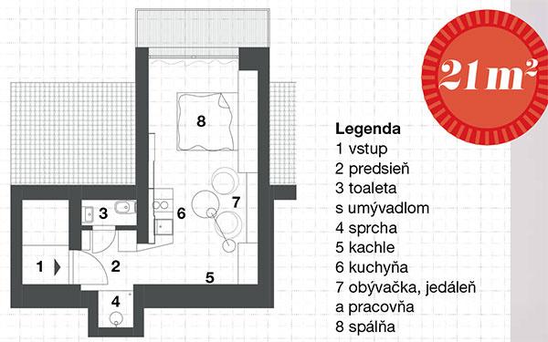 Legenda 1 vstup 2 predsieň 3 toaleta sumývadlom 4 sprcha 5 kachle 6 kuchyňa 7 obývačka, jedáleň apracovňa 8 spálňa