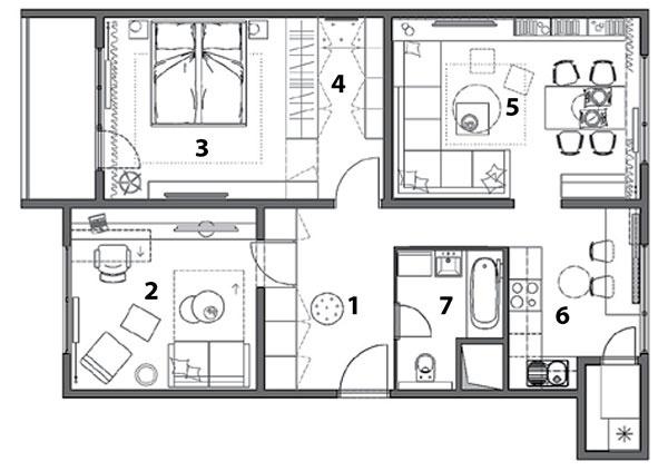 1 vstupná hala 2 pracovňa 3 spálňa 4 šatník 5 obývacia izba 6 kuchyňa 7 kúpeľňa s WC