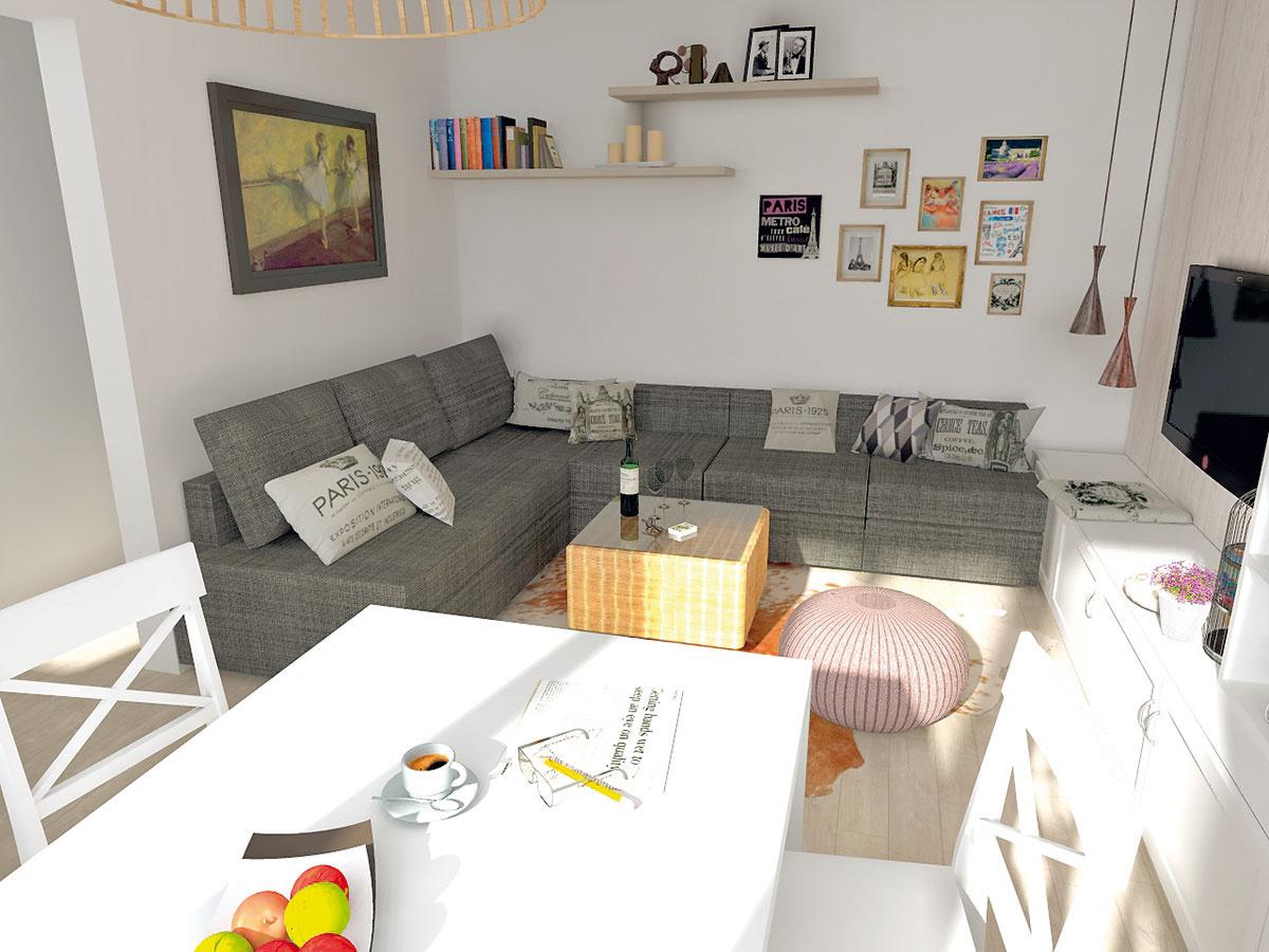 Sivá rohová sedačka kopíruje celú dĺžku steny. Dopĺňa ju len fialový pletený taburet.