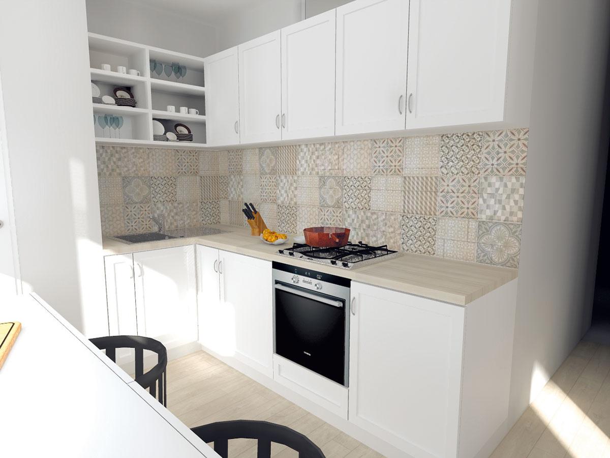 Vzorovaný obklad za kuchynskou linkou vyberali architekti tak, aby sa trafil do tónov svetlého duba. Obklad Bijou nájdete vpredajni Keramika Soukup.