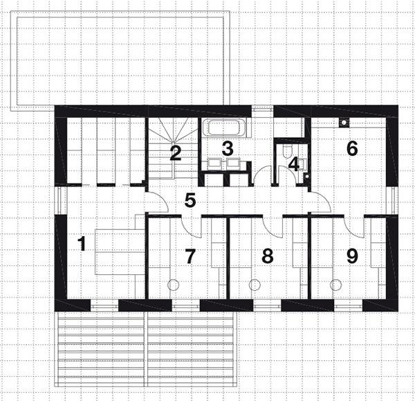 Druhé nadzemné podlažie 1 spálňa rodičov 2 schodisko  3 kúpeľňa 4 WC 5 chodba 6 telocvičňa 7 izba 8 izba 9 izba
