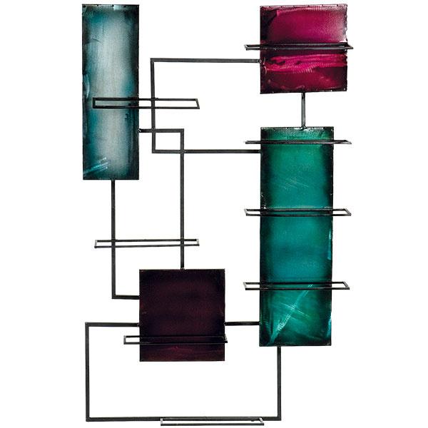 Nástenný stojan na víno Holly & Martin Santa Black Maria, ručne maľovaný, na 8 fliaš, 97,8 × 60,9 × 10,1 cm, 70,94 €, www.bellacor.com