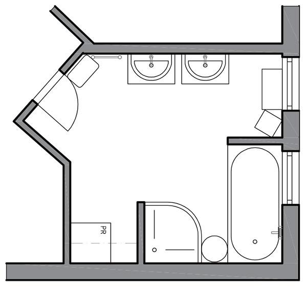 """Pôvodný stav naznačuje """"dozariadenú"""" kúpeľňu, ktorá už raz prešla úpravami. Zbytočné priečky redukujú svetlo azmenšujú priestor."""