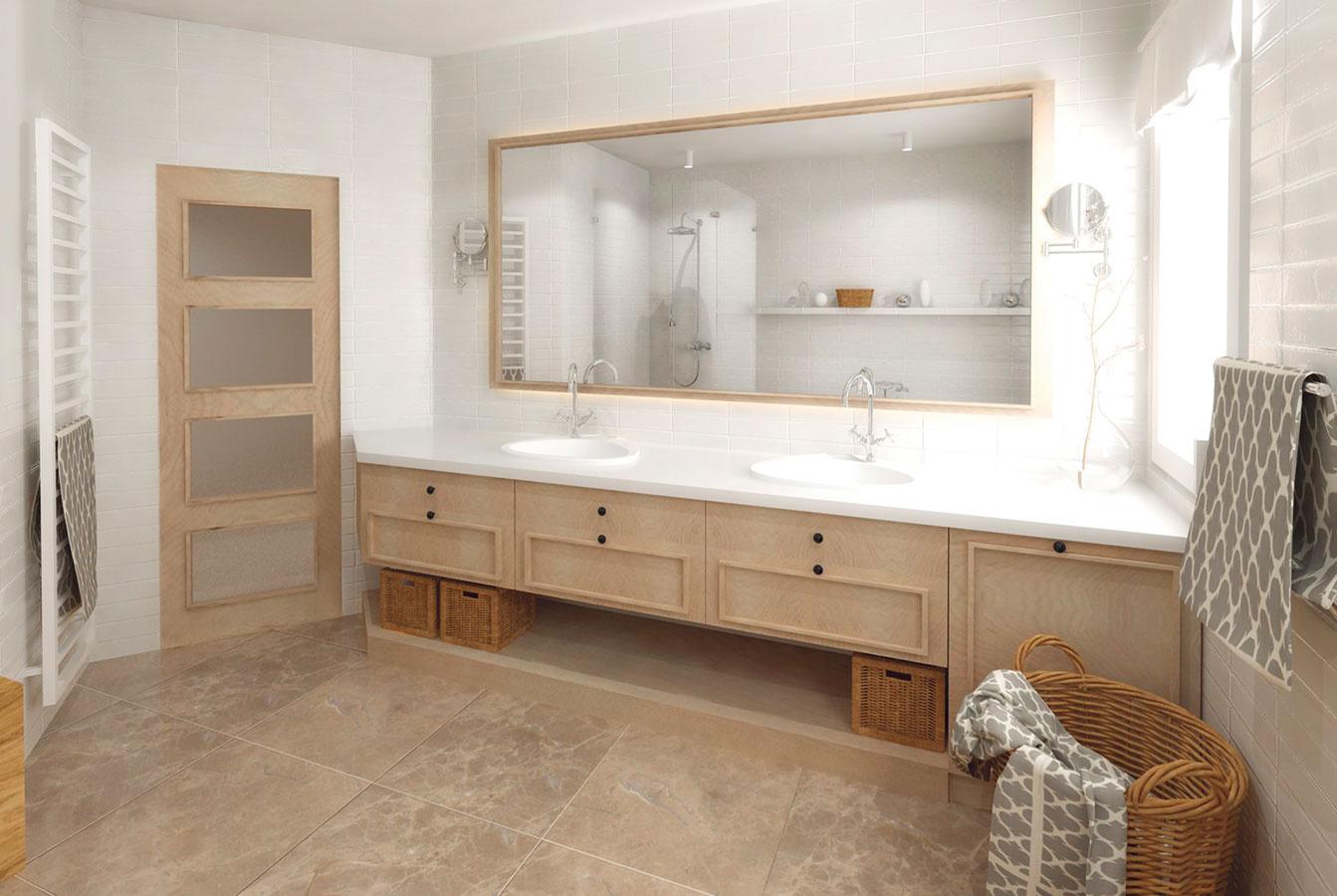 Skrinka sumývadlami dlhá tri metre poskytuje dostatok úložného priestoru, aj keď prvé zásuvky musia byť pre umiestnenie umývadiel plytšie.
