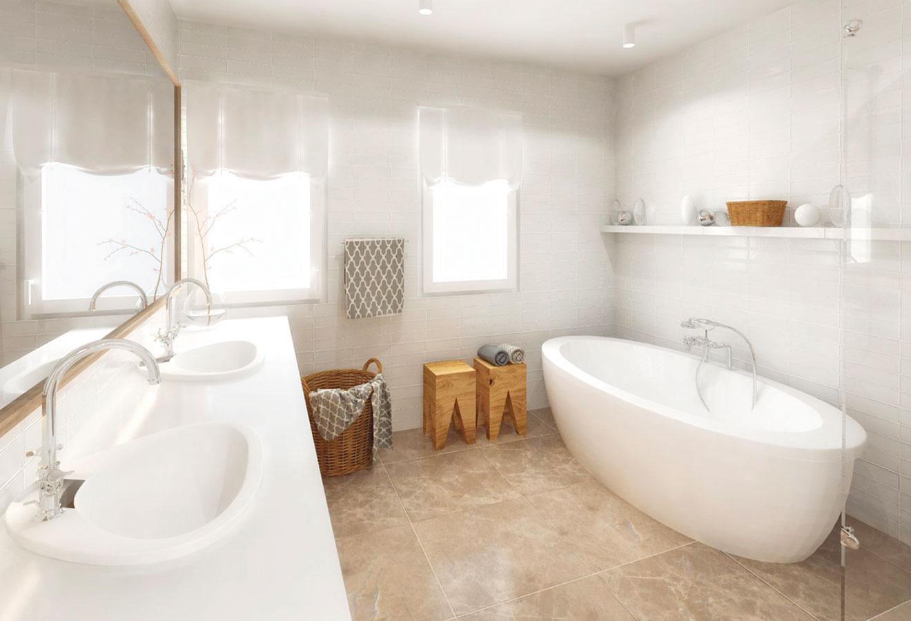 Dlažba zmramoru (alebo smramorovým vzorom) vteplom odtieni sa približuje farbe dreva, čo interiér zjednocuje.