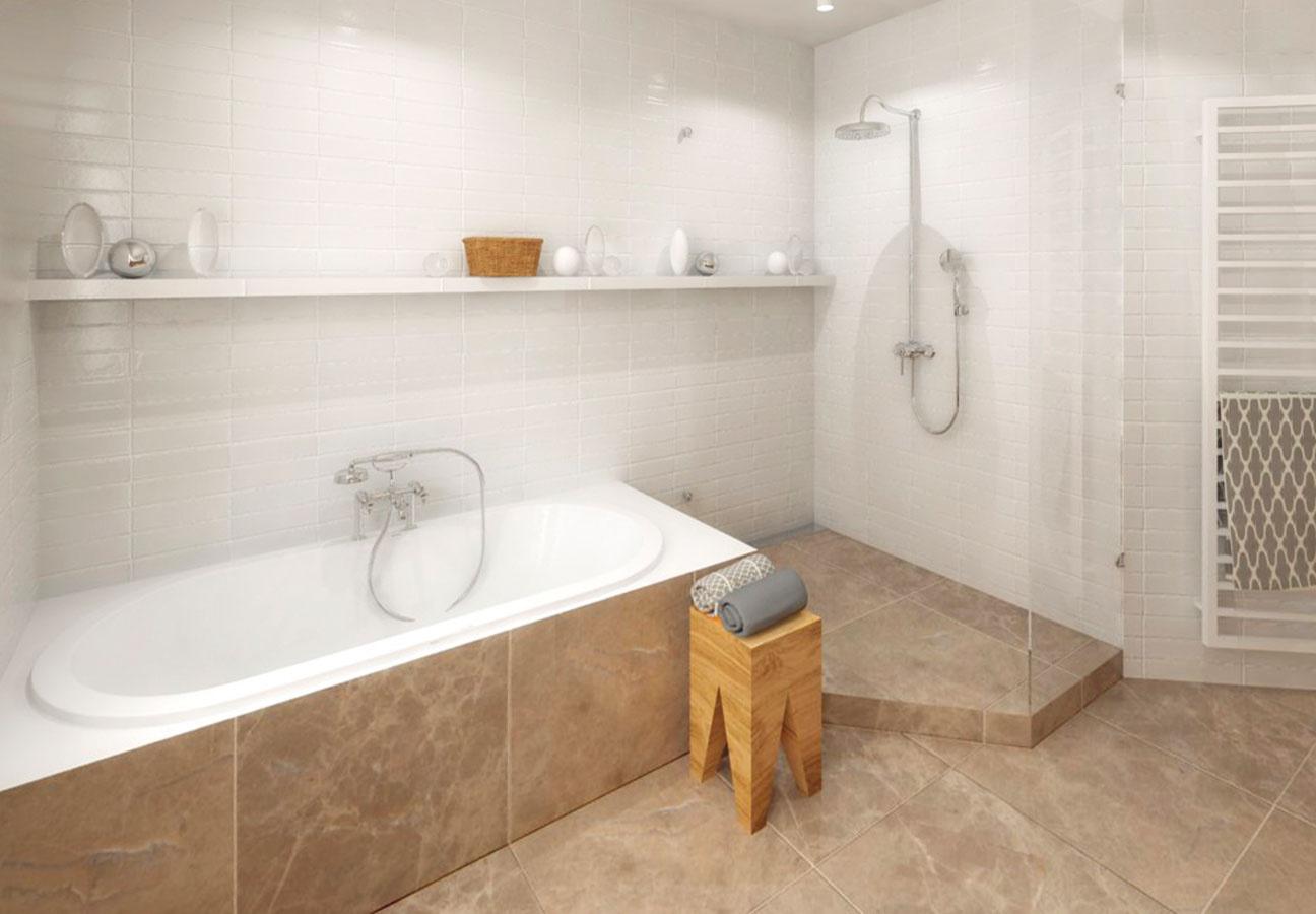 """Variant 2 – zabudovaná vaňa sotvoreným """"Walk-In"""" sprchovacím kútom, tvarom prispôsobeným pôdorysu miestnosti."""