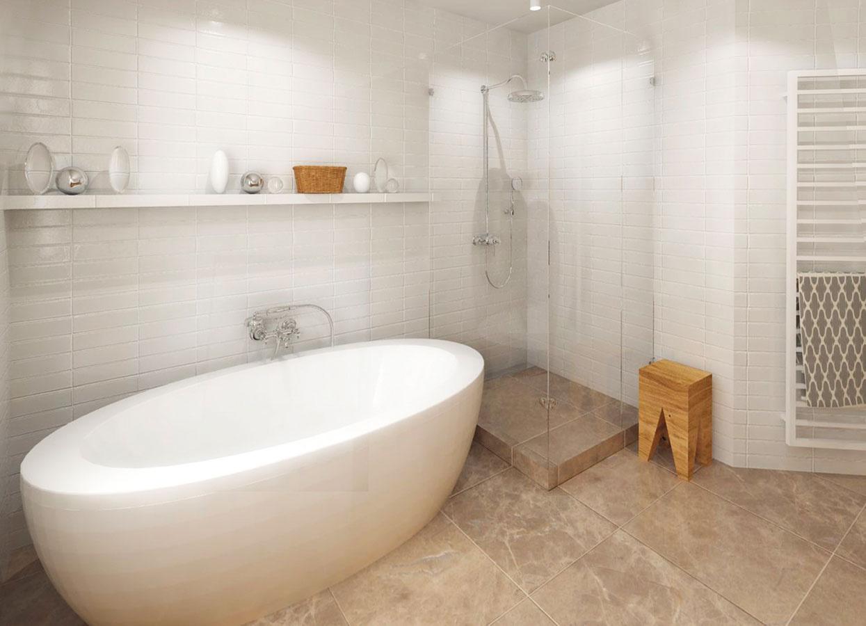Variant 1 – voľne stojaca vaňa splne uzavretým zaskleným sprchovacím kútom.