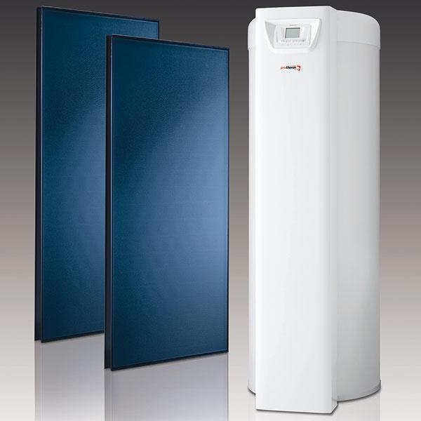 """Solárna beztlaková zostava HelioSet 2.250 VT na vykurovanie a ohrev vody, súprava 2 vertikálnych plochých solárnych kolektorov (maximálna teplota 170 °C, maximálny výkon 1,88 kW, rozmery š × d × h: 1 233 × 2 033 × 80 mm, celková plocha kolektora 2,51 m2) a 250 l bivalentného zásobníka teplej vody a príslušenstva (solárny výmenník predplnený solárnou kvapalinou, systém pripravený na inštaláciu, funkcia """"večierok"""" na rýchly ohrev vody v zásobníku), cena 2 490 €, www.protherm.sk"""
