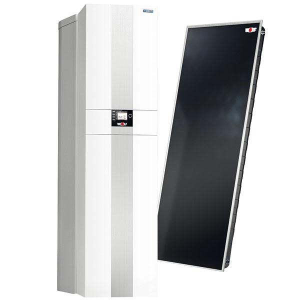 Stacionárny kondenzačný kotol so solárnym ohrievačom vody Wolf CSZ-2R na vykurovanie a ohrev vody, normovaný stupeň využitia 99 % Hs, plynule modulovaný výkon od 1,8 kW, regulácia spaľovania s automatickým kalibrovaním a prispôsobením sa druhu plynu, zabudované úsporné čerpadlo EEI < 0,23, solárny ohrievač vody s tepelnou izoláciou vrátane izolácie na podlahu, cena ???? €, www.wolfsr.sk
