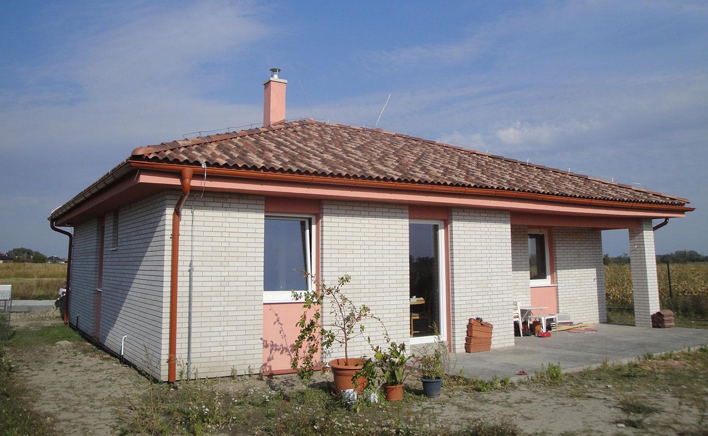 Prízemný dom s terasou, úžit. plocha 101,0 m2, osadenie na rovine