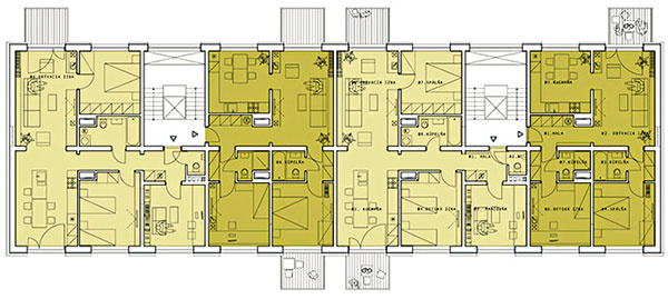 Podlažie sveľkými bytmi