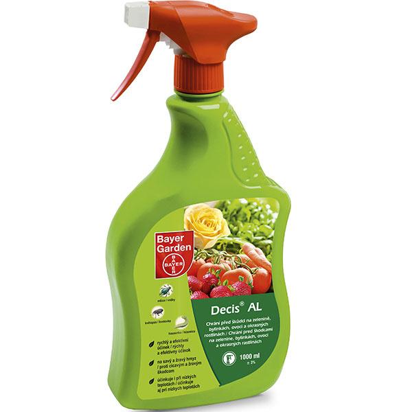 Decis® AL postrekový insekticídny prípravok na priame použitie bez riedenia určený na ochranu okrasných rastlín, zeleniny (rajčiak, paprika, uhorka, hrach, fazula, brokolica, zemiak, pór, kaleráb, jahody a ďalšie), ovocných stromov (jabloň, hruška, čerešňa) a byliniek proti cicavým a žravým škodcom. Pôsobí ako dotykový a požerový jed. Účinkuje aj pri nižších teplotách.