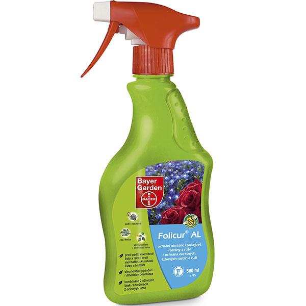 Folicur® AL fungicídny prípravok na priame použitie postrekom k aplikácii bez riedenia určený na ochranu ruží a okrasných a izbových rastlín proti hubovým chorobám. Obsahuje dve účinné látky, preto je ochrana zabezpečená dvomi spôsobmi. Choroba je potlačená priamym pôsobením účinných látok, ktoré penetrujú do listov a následne sa vytvorí ochranný povlak na povrchu listov, čímž sa zabráni novému rozvoju choroby.