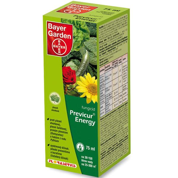 Previcur® Energy  je systémový kombinovaný fungicíd s preventívnym aj kuratívnym (liečebným) účinkom, určený na ochranu zeleniny (uhorky, rajčiak, paprika, baklažán, hlúboviny, …), okrasných rastlín v skleníku, šalátu a uhoriek aj v záhradách, proti pôdnym a listovým chorobám, ktoré spôsobujú pravé plesne (Oomycetes) a huby z rodu Pythium. Veľmi dobre chráni mladé časti rastlín a rastúce časti.