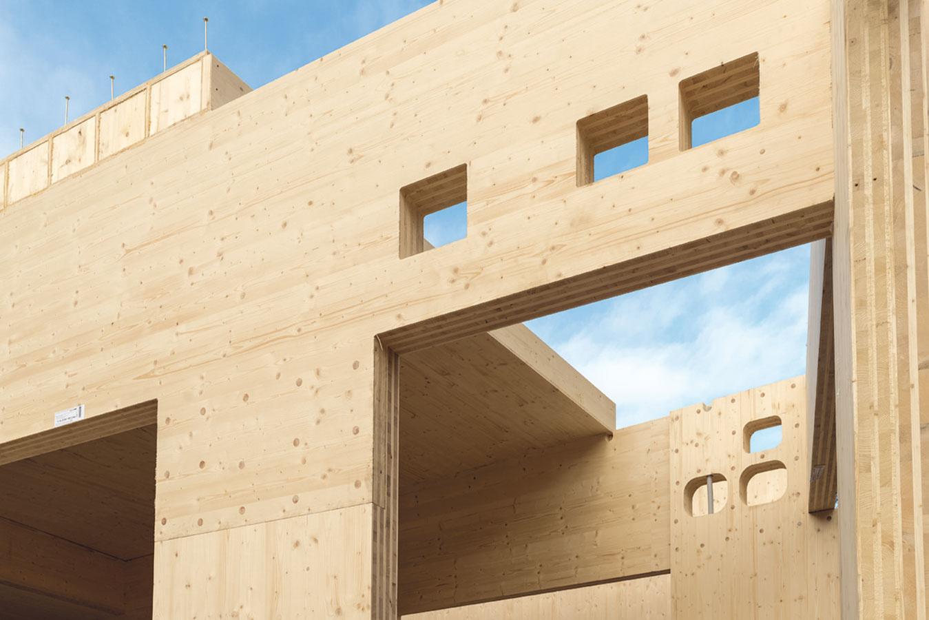 Stavebný systém NOVATOP od firmy Agrop Nova zveľkoformátových komponentov vyrábaných zkrížom vrstveného masívneho dreva (CLT – cross laminated timber). Panely sa vyrábajú zvysušených smrekových lamiel zložených do vrstiev, pričom lamely vsusedných vrstvách sú navzájom otočené o90°. Počet vrstiev môže byť rôzny aurčuje hrúbku panelu. Svývojom systému pomáhali vo Švajčiarsku, pri opracovaní komponentov sa používa najmodernejšie CNC zariadenie acelý výrobný proces je digitálne riadený.