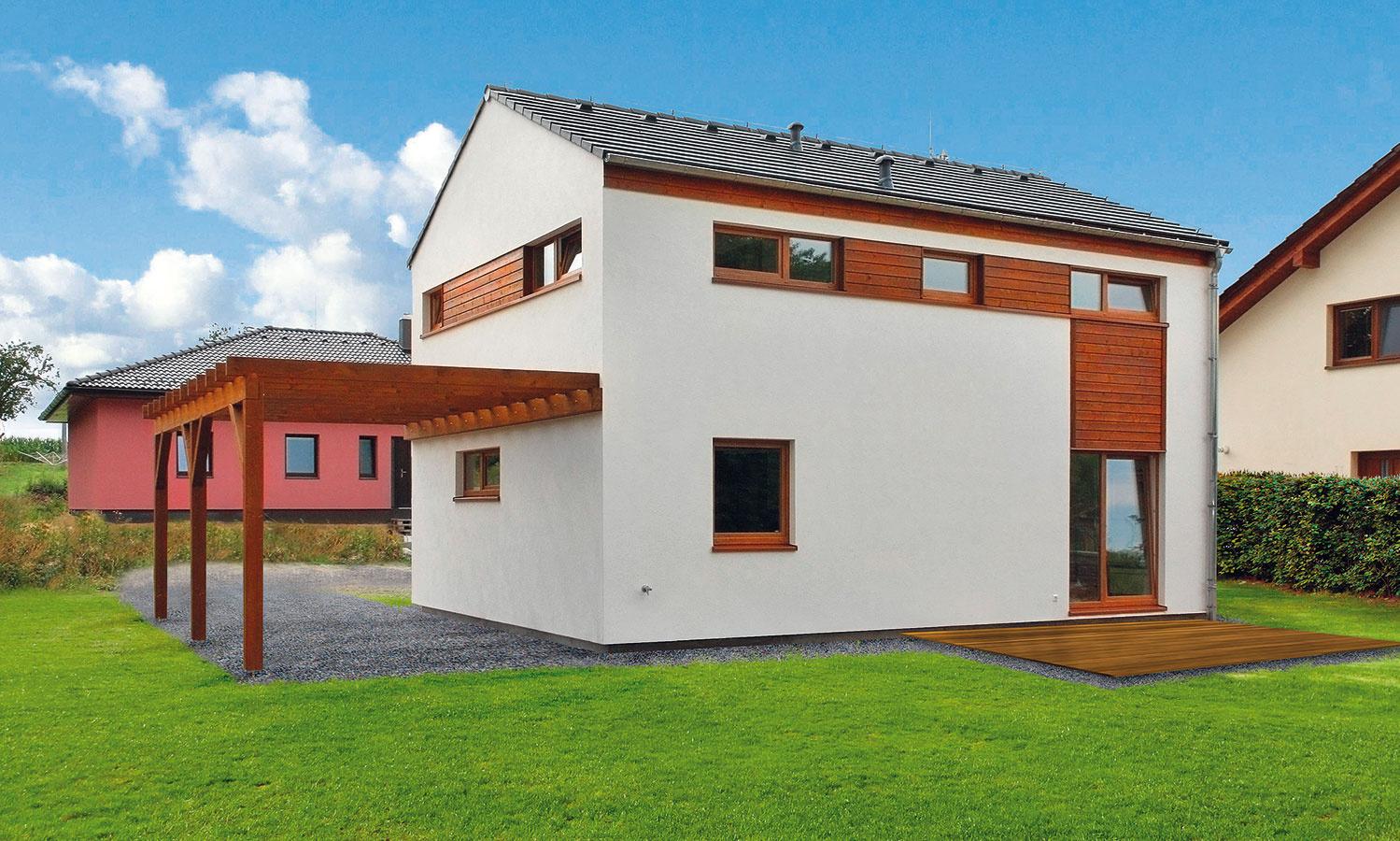 Najpredávanejší dom dodávateľa typových drevostavieb RD Rýmařov, KUBIS 631. Moderný rodinný dom sdispozíciou 4 + kk smožnosťou jednoduchého rozšírenia na 5 + kk alebo oplnohodnotnú garáž. Vďaka spolupráci sfirmou SIEMENS je vybavený inteligentnou reguláciou vykurovania avetrania, ktorá ušetrí prevádzkové náklady na energie. Vzorový dom vOlomouci-Hnevotíne (na obrázku) postavili na kľúč za 11 dní, okrem zhotovenia základovej dosky.